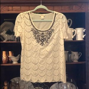Lucky Brand Lace Beaded Sheer Top